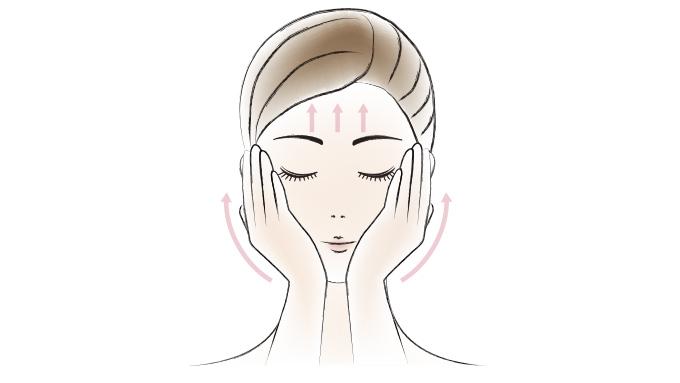 手のひら全体を使って頬と額をやさしく引き上げます。(図2)
