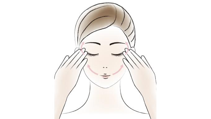 さらに少量をとり、指全体で温めた後、目もと・口もとなど特にシワが気になる部分をやさしく引き上げます。(図3)